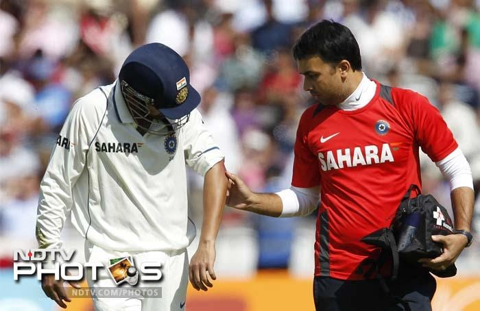 Gambhir walked off the ground with swelling evident and reports later emerged that he had been taken to a hospital for treatment.