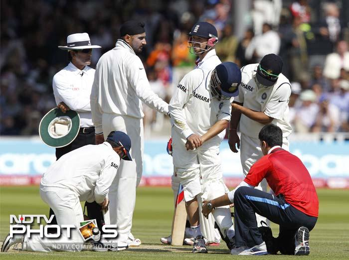 Matters got a whole lot worse for India when Prior pulled straight to Gambhir at short-leg and the ball hit him on his arm.
