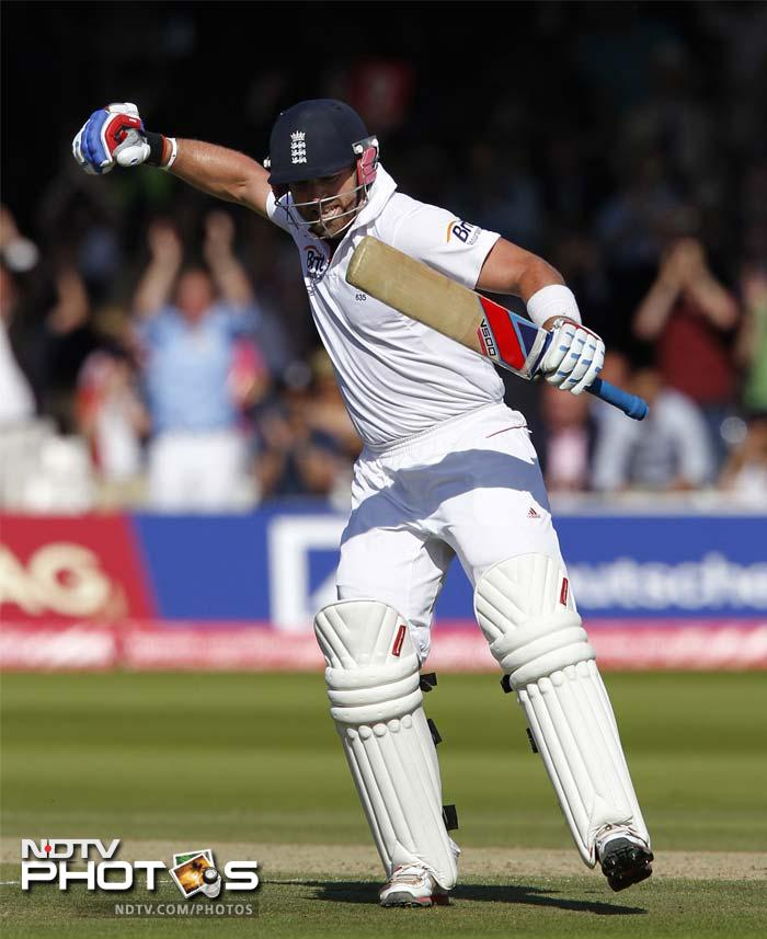 Prior too smashed a few arrogant shots and raced to his century as England declare their innings on 269, setting India a target of 458, largely due to a 163-run stand for the seventh wicket. At stumps, the visitors were 80/1.
