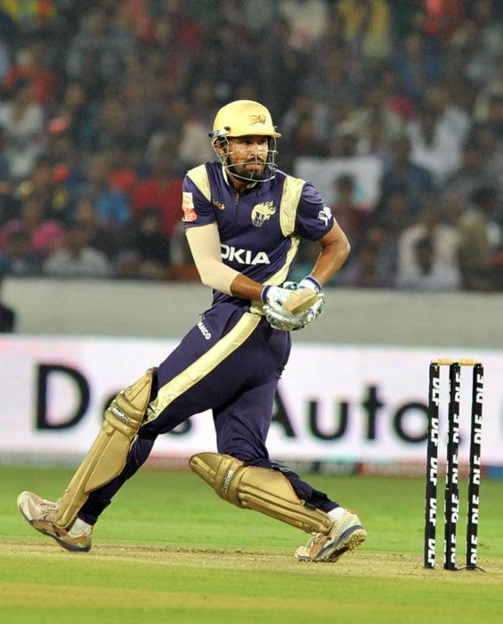 Kolkata Knight Riders batsman Yusuf Pathan plays a shot during the IPL Twenty20 cricket match against Deccan Chargers at the Rajiv Gandhi International Stadium in Hyderabad. (AFP PHOTO)