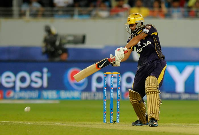 Manish Pandey added some credibility to the KKR's innings once again. <br><br>After scoring a fifty in the previous match, he led the scoring for most parts and hit 48. (BCCI image)