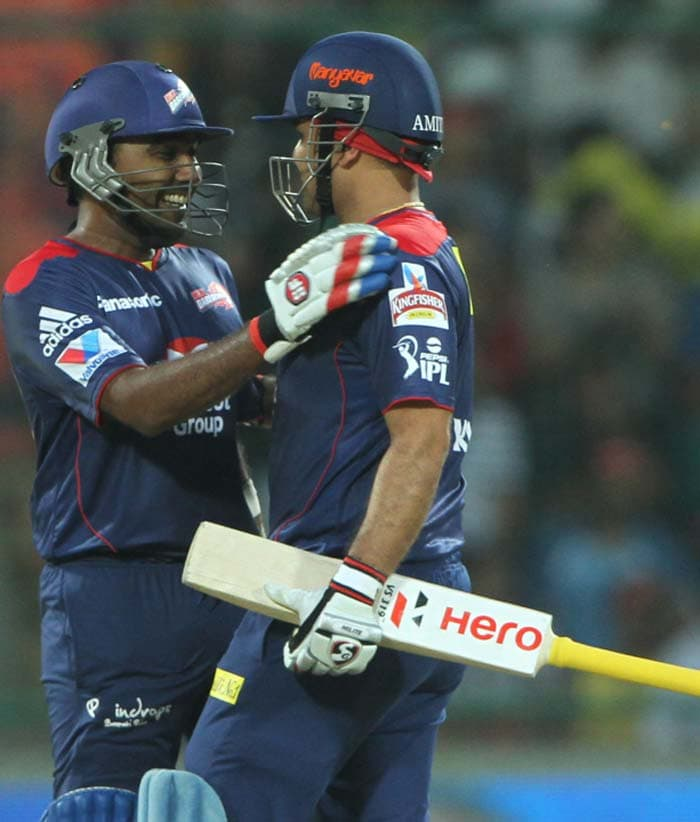 Sehwag was well supported by skipper Mahela Jayawardena who hit a half century for himself and had a 151-run stand for the opening wicket. <Br><br> The team won the match with three overs to spare. (BCCI image)