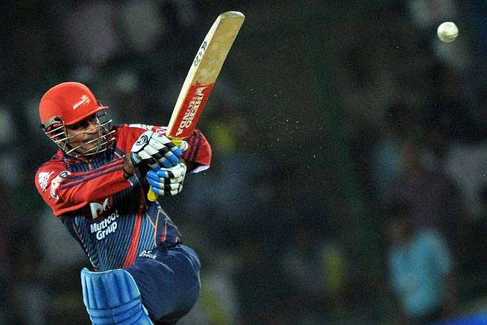 Virender Sehwag on the other end looked defiant as ever as he timed his shots well to race to a 18-ball 25.
