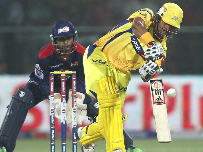 Suresh Raina then joined Hussey and both played quite steadily, hitting the occasional boundary and concentrating on the singles. It looked as if Chennai's ploy was to attack at the death and conserve wickets at the start. For the next 5.3 overs, the pair added just 30 more runs at just under 6-an-over. (BCCI Image)