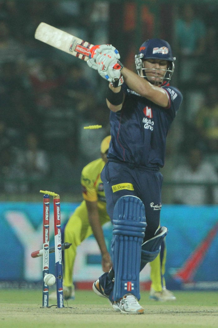 Delhi, who badly needed their opening pair to fire, got off to the worst start possible losing Warner and Manprit Juneja to young Haryana bowler Mohit Sharma in the second over of their innings. The Australian went trying to cut a ball close to his body and managing an inside edge while Juneja might have been unlucky, as shown in consequent replays, but Sharma nonetheless celebrated. Delhi was 13/2 at this stage. (BCCI Image)