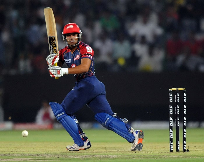 Delhi Daredevils batsman Yogesh Nagar plays a shot during the IPL Twenty20 match against Kochi Tuskers Kerala at the Feroz Shah Kotla Stadium in New Delhi. (AFP PHOTO)