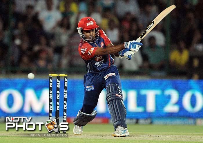 Delhi Daredevils batsman Mahela Jayawardena plays a shot during the IPL Twenty20 cricket match against Mumbai Indians at the Feroz Shah Kotla stadium in New Delhi. (AFP PHOTO/MANAN VATSYAYANA)