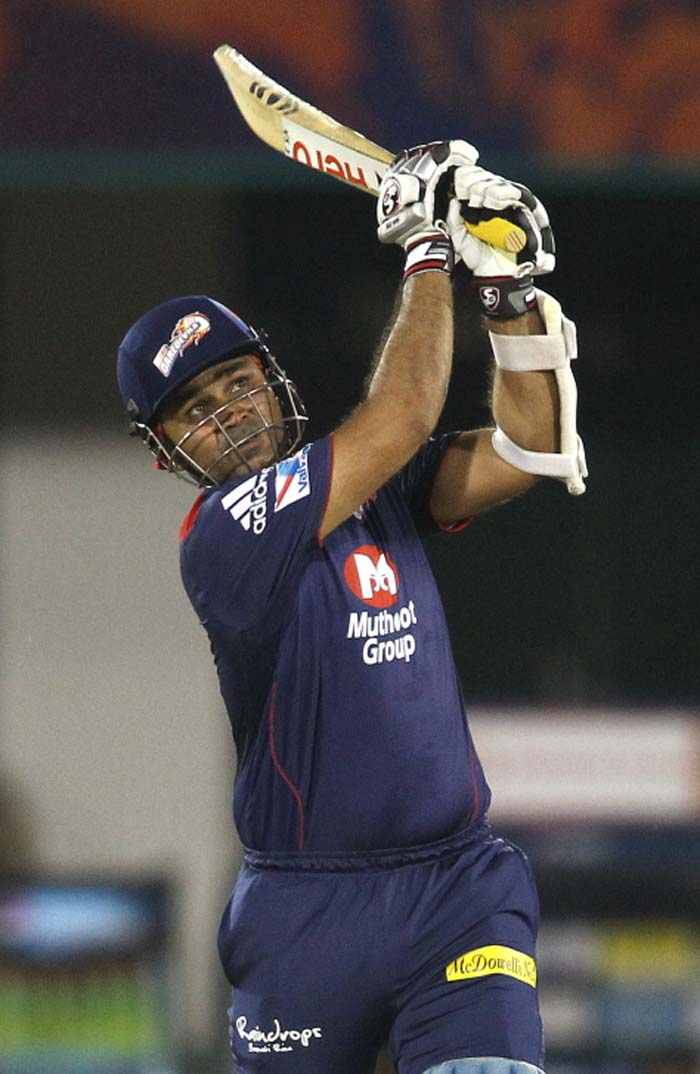 Virender Sehwag was showing signs of a good score but fell to Dinda for 29 runs. (Image Credit BCCI)