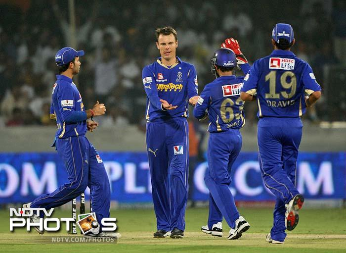 But Johan Botha's spin sent back Shikhar Dhawan for 26 in the 9th over of Deccan's chase.
