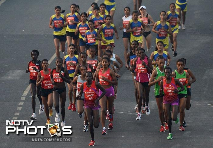 Rahul Kumar Pal (1:06:12s) finished first among Indian men and overall 16th in the race. Nitender Singh and Indrajeet Patel came second and third among Indian winners respectively.<br><br> Sudha Singh was the fastest woman among Indians, clocking 1:19:34, followed by Kavita Raut and last year's champion Lalita Babbar.