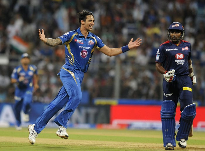 Mitchell Johnson then accounted for Delhi's captain and possibly their best bet, Mahela Jayawardena. His thin edge was snapped up by wicket-keeper Dinesh Karthik as Delhi slumped to 13/2. (BCCI Image)