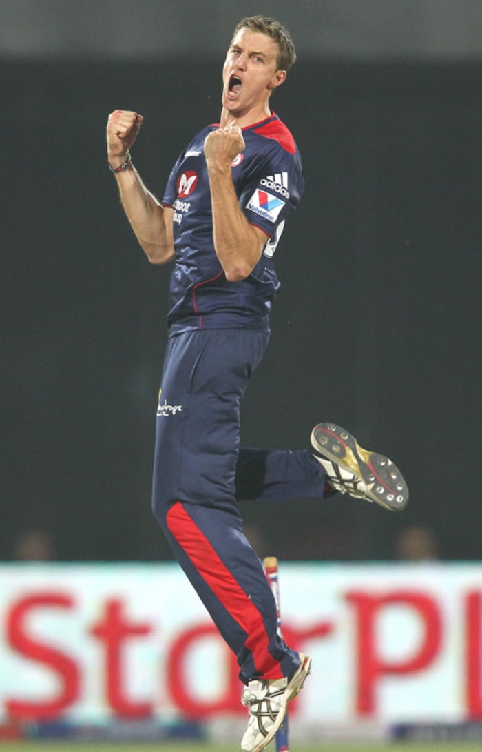 Delhi then made a roaring comeback into the game as hot property Nadeem removed the dangerous Cameron White for 4. The Australian charged too soon and the left-armer's shortish delivery had him stumped by Kedar Jadhav. Morkel also accounted for Ashish Reddy, uprooting his stumps off a slower ball. Reddy scored an enterprising 16 off 9 balls.(BCCI Image)