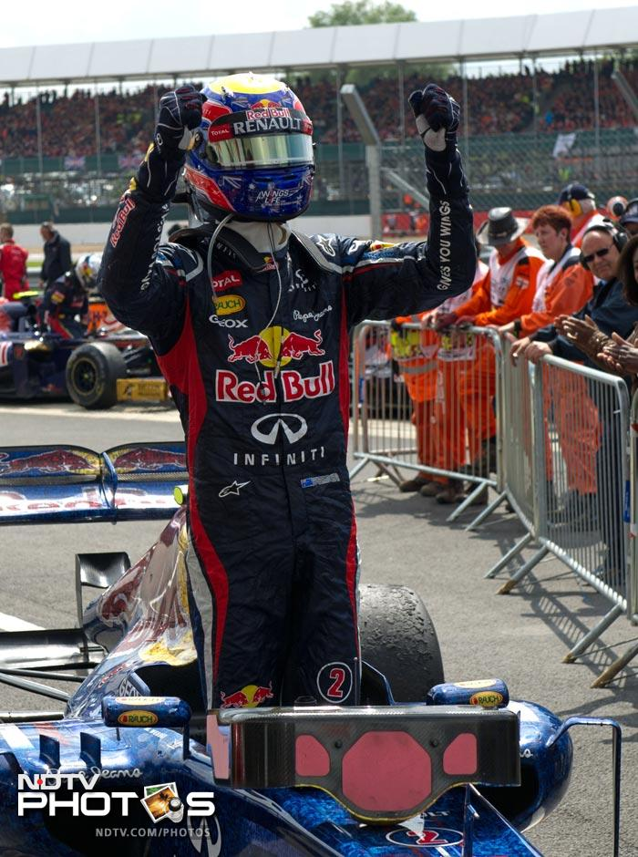 Mark Webber came back late in the race to get past Fernando Alonso to go past the finish line and claim the British Grand Prix.