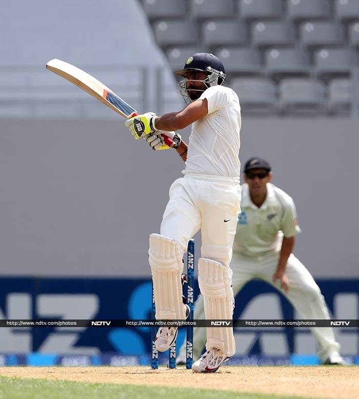 Ravindra Jadeja provided some resistance as New Zealand opted to bat again after leading by 301 runs.
