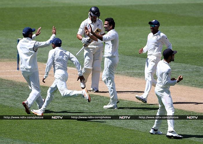 The Indians reposnded in kind as the pacers shared seven wickets to bowl New Zealand out for 105 and India needed 407 to win.