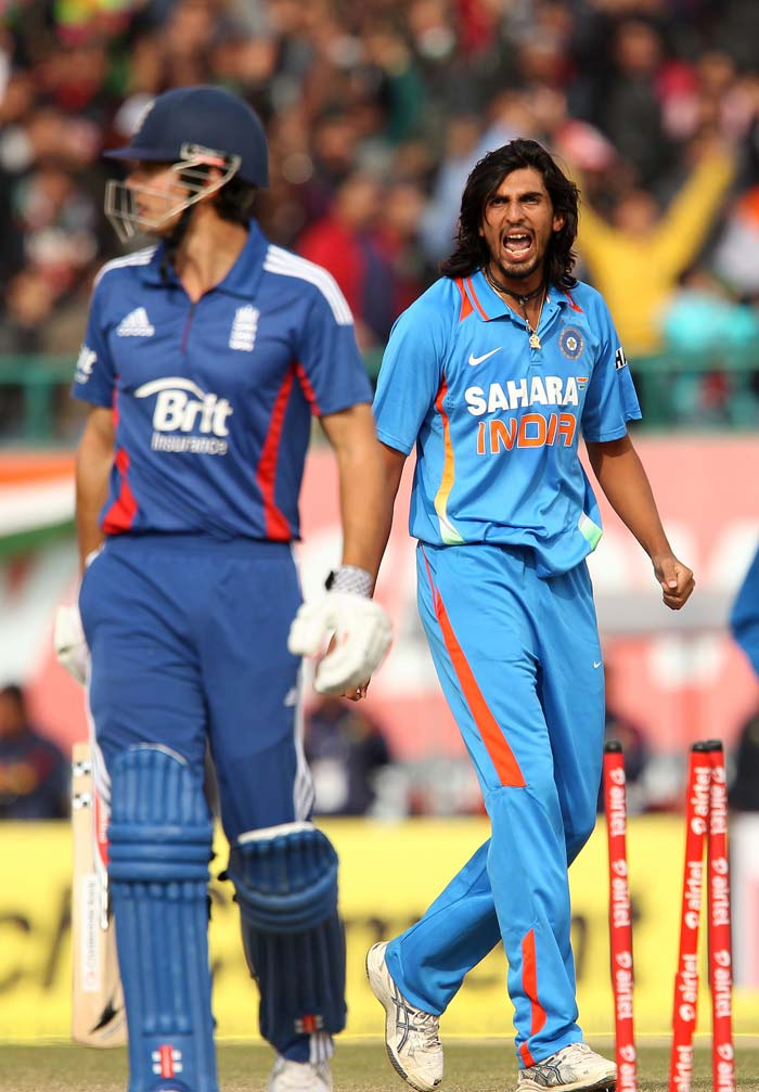 England's chase was slightly shaky with Cook and Ian Bell being tested. While the new ball bowlers kept it tight, it was Ishant Sharma who struck first. (BCCI image)