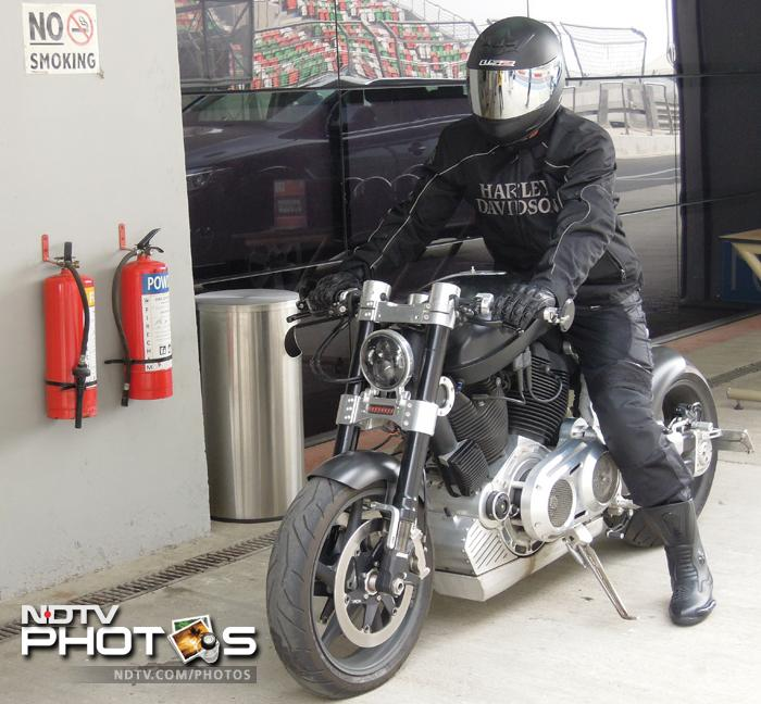 MS Dhoni gears up for a ride in his Hellcat bike at the BIC in Greater Noida on Monday, a day after securing a 4-0 Test series win against Australia in New Delhi.