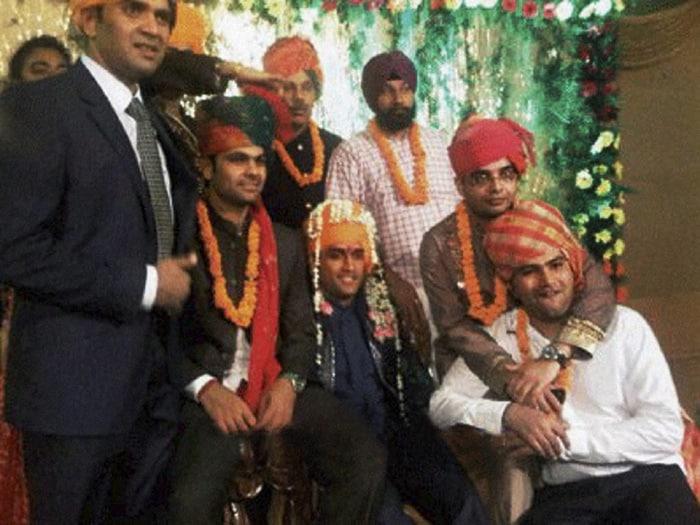 Fellow cricketers RP Singh, Rohit Sharma, Ashish Nehra, Harbhajan Singh and Suresh Raina were present at the wedding.