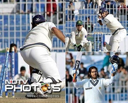 Dhoni's maiden Test century came against Pakistan in 2006 when he slammed 148 off 153 balls before getting himself stumped.