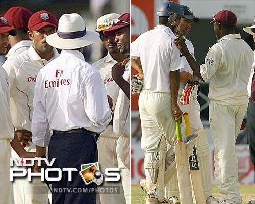 An ugly episode though, did unfold when Brian Lara wanted Dhoni to walk off although his catch at mid-wicket was inconclusive. There was a lot of finger-pointing and throughout the 15 minutes of debating, Dhoni chose to wait for the umpire's decision.
