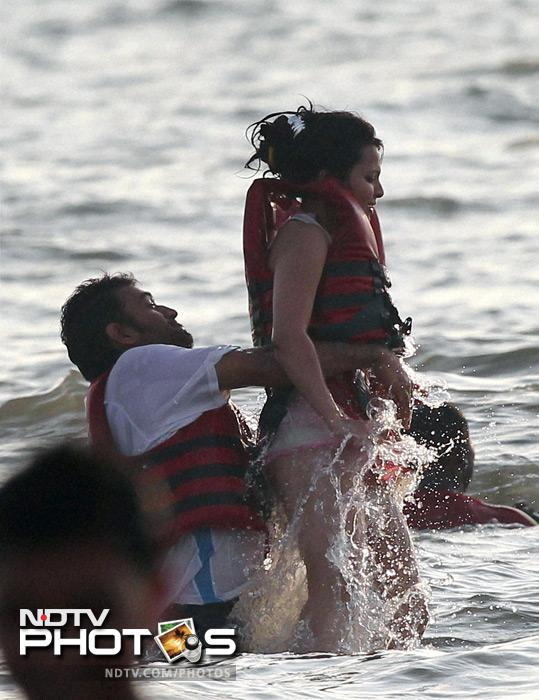 The two enjoyed the Arabian sea after a series win against Australia, at Goa.