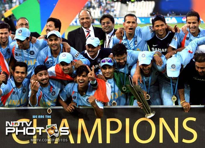 <b>T20 World Cup win:</b> Dhoni's first ever World title came in 2007. That was the year when India had made an embarrassing exit from the 50-over World Cup in the Caribbean. After the seniors Rahul Dravid, Sachin Tendulkar and Sourav Ganguly opted out of the T20 format, Dhoni was given the reins of the team. With his inspiring and innovative captaincy, Dhoni guided his team the title win and gave his countrymen a reason to cheer.