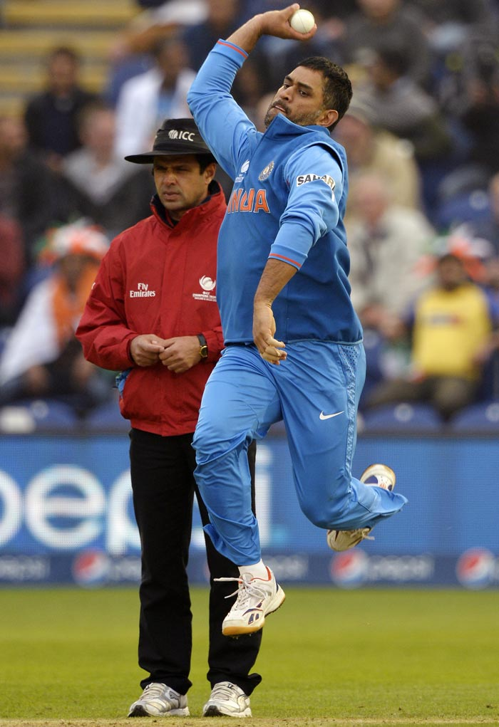 Dhoni finished with economical figures of 0/17 in 4 overs, as India restricted Sri Lanka to a paltry 181/8. We may never know why MS Dhoni turned to the leather, but he can add another skill to his cricketing repertoire.