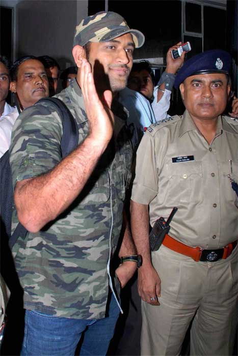 Dhoni arrived at the Birsa Munda Airport in Ranchi on Wednesday. (PTI Photo)