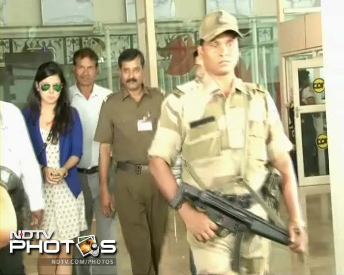 Sakshi Dhoni looked her usual self - smart, in a blue dress.