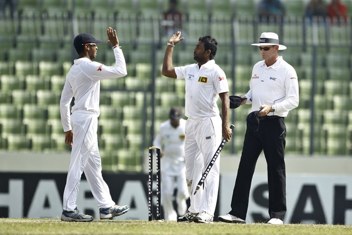 Dilruwan Perera, took his maiden five-wicket haul as Bangladesh were bowled out for 250 in their second innings as Sri Lanka scored a whopping innings-and-248-run win that gave them a 1-0 lead in the two-match series.
