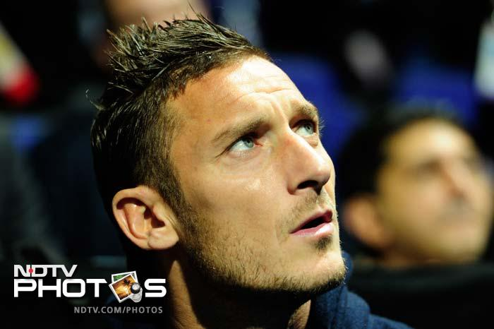 Italian football player Francesco Totti in attendance during the final. He himself has entertained all and sundry with his foot skills but with Djokovic and Federer around, he was the one getting some dose of the same.