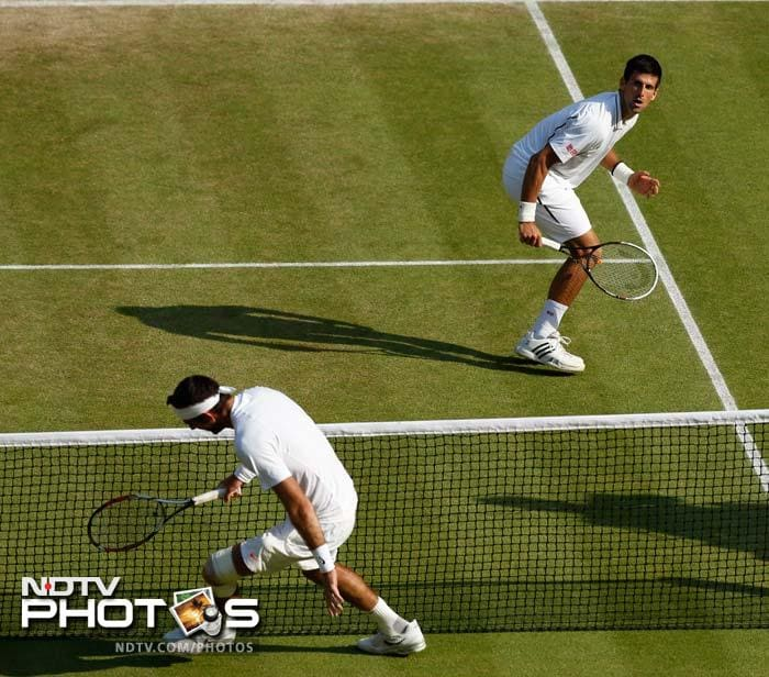 In a titanic struggle played out over four hours and 43 minutes, world number one Djokovic squandered two match points in the fourth set tiebreak before going on to seal a final clash.
