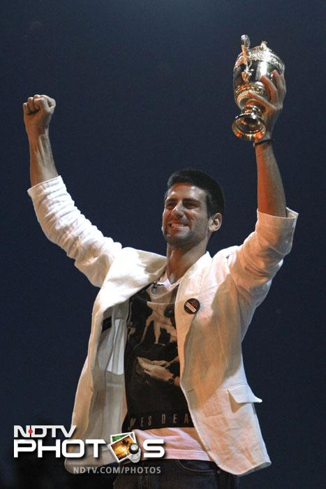 """You made this day the best day of my life,"" Djokovic told the screaming crowd of mostly young people as he held a replica of the Wimbledon trophy that is given to the winners to keep."