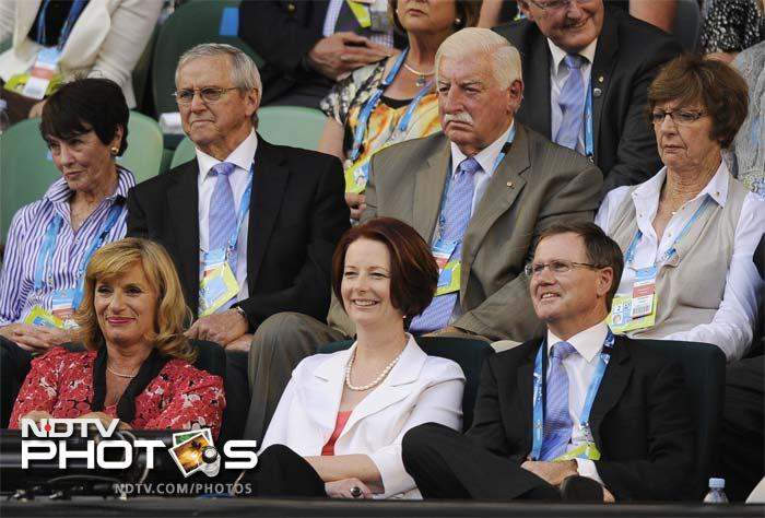 Australian Prime Minister Julia Gillard, bottom centre, was in the stands to watch the gripping semi-final.