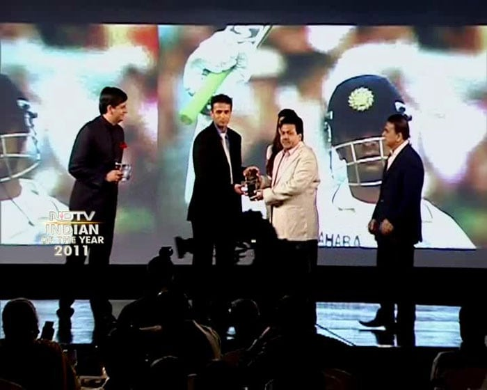 """Rahul Dravd, also known as The Wall, has been given the Lifetime Achievement Award at the NDTV Indian Of The Year Awards 2011 for his services to the Indian cricket.<br><br>""""I was always grateful for the opportunity to represent India,"""" Rahul Dravid said after receiving the award from BCCI vice-president Rajiv Shukla."""