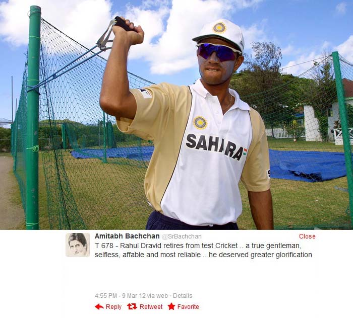 From one legend to another. Amitabh Bachchan tweeted his appreciation for Rahul Dravid's contribution to cricket.
