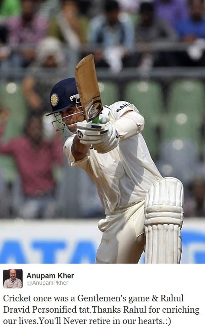 Anupam Kher expressed the importance of Rahul Dravid to the game of cricket.