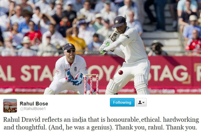Rahul Bose paid tribute to Rahul Dravid on Twitter.