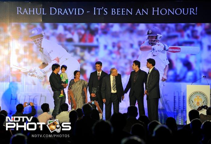 Dravid was honoured by officials of the KSCA. He received the award along with his family.
