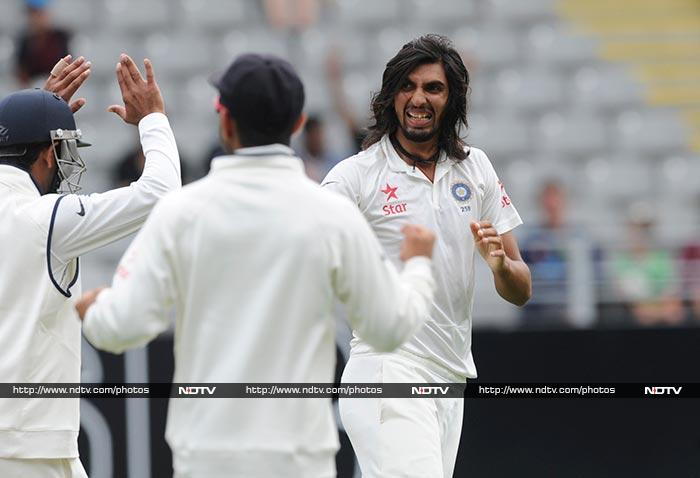 Ishant Sharma drew first blood as he removed Hamish Rutherford and Ross Taylor for low scores.