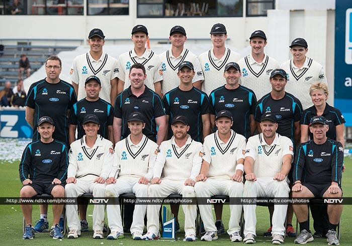 The New Zealand cricket team is all smiles as they pose after winning the Test series against India.