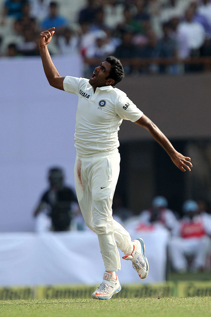 R Ashwin also took two wickets, more important one of Shivnarine Chanderpaul who was anchoring the innings. Ashwin's second scalp was Veerasammy Permaul. Image courtesy: BCCI