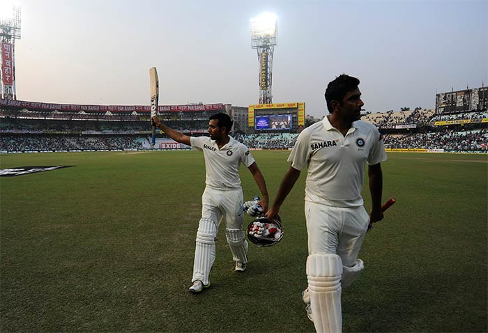 Rohit and Ashwin ended the day with an unfinished 198-run stand and the latter is approaching his second test ton, batting on 92 not out. From being in the doldrums at 156 for 6, India at 354/6, achieved a 120-run lead after Day 2 at the Eden Gardens. Image courtesy: BCCI