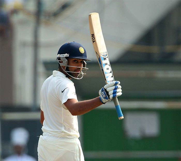 Rohit Sharma, who took time to settle into an innings, then reached a well-deserved fifty on Test debut, off 95 balls. Image courtesy: BCCI