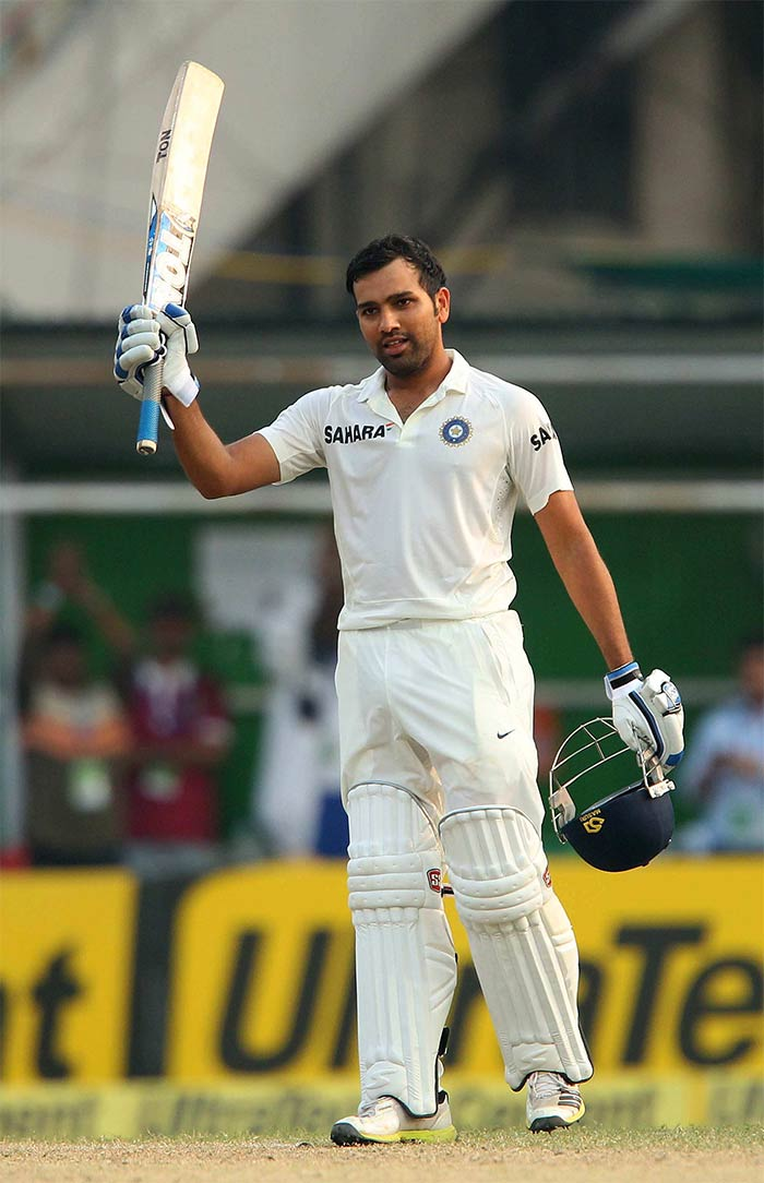 Rohit Sharma then upped the ante and registered a century on debut, becoming the 14th Indian to do so in Test cricket. He also became the first Indian to score a Test hundred on debut versus the West Indies. Image courtesy: BCCI