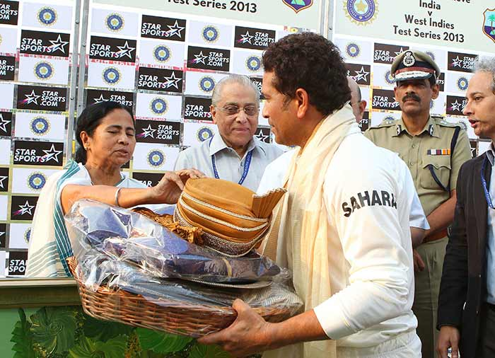A gala presentation ceremony was planned for Sachin after the match. West Bengal Chief Minister Mamata Banerjee presented Sachin was a miniature Banyan tree with 199 leaves on it. He was also honoured by Cricket Association of Bengal president Jagmohan Dalmiya and the police commissioner of Kolkata. Image courtesy: BCCI