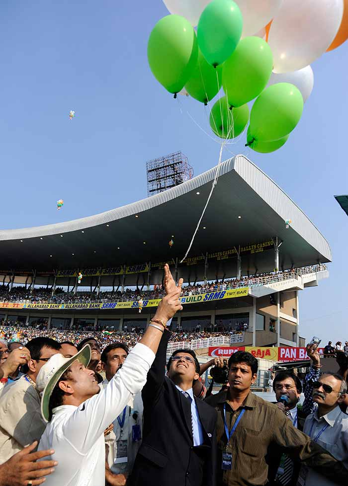During the tea break, a 199 hot-air tri-coloured balloons were released in the air by Sachin and Sourav Ganguly together as a mark of respect to the Master Blaster. Image courtesy: BCCI