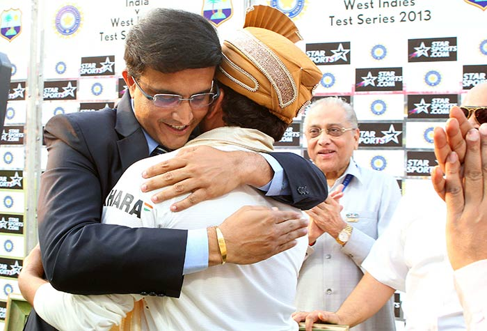 Eden's favourite son Sourav Ganguly hugs his long-time teammate and ODI opening partner Sachin Tendulkar during his felicitation after the 1st Test between India and the West Indies in Kolkata on Thursday. Image courtesy: BCCI