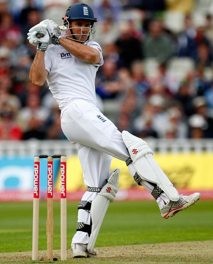 Andrew Strauss managed to bring up his 25th Test fifty and looked set to hurt India more although the day ended with his team on 84/0, 140 runs behind.