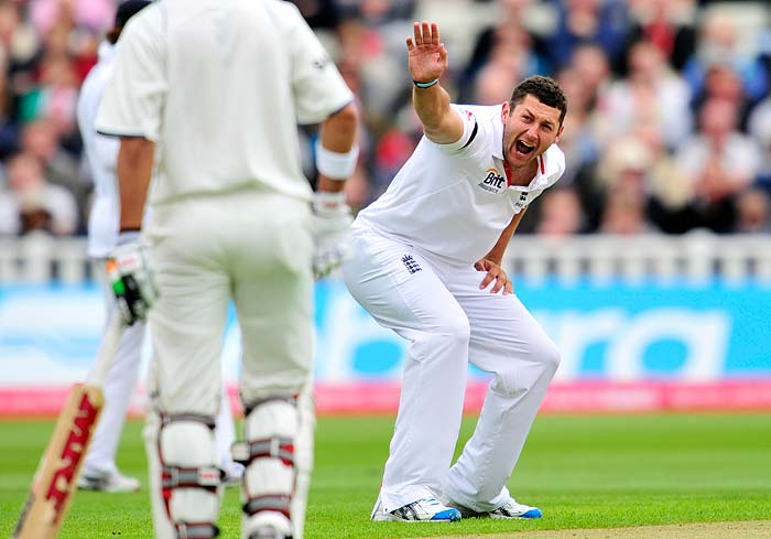 Bresnan was clearly on fire as he troubled the batsmen with his seam movement. He managed to even claim the wicket of VVS Laxman, after Dravid.